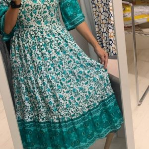 Boho Green Floral Mid Dress