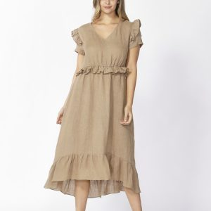 Marthe Ruffle Dress Tan