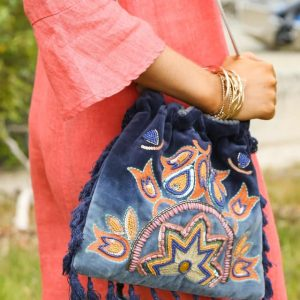 Embelished Bag - Birds in Paradise Navy
