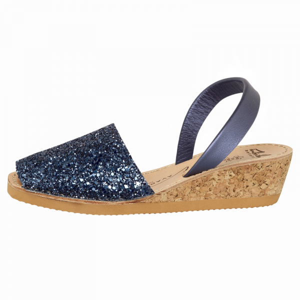 Navy Glitter Wedge Avarcas