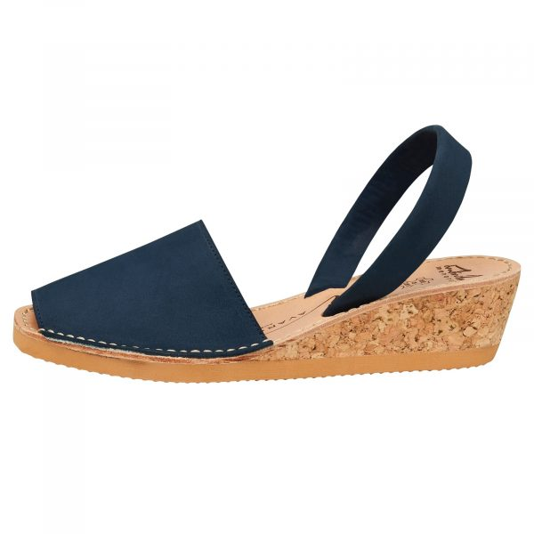 Navy Nubuck Wedge Avarcas
