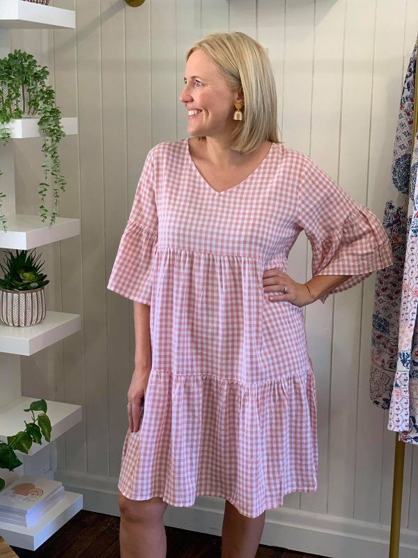 Freya Dress Pink gingham check