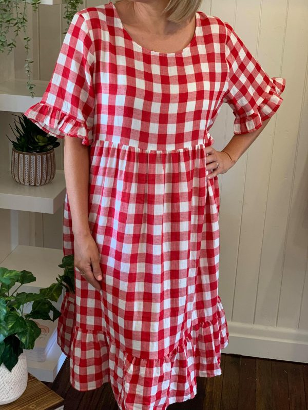Aurora Dress Red Gingham close up